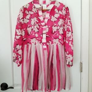 Naracamicie Italian Dress Tunic Cotton Voile Pink